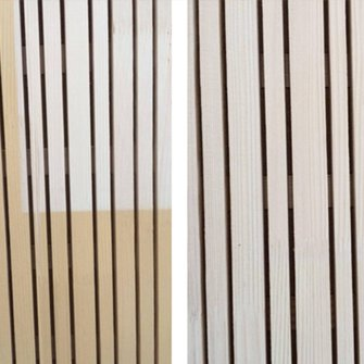 The comparison assures you of the fact: whereas untreated wood (left) yellows severely in the sun, the area treated with Lignovit Interior UV 100 in the colour Tanne (right) retains its natural beauty even after five months of sunshine. (Photo credit: ADLER)